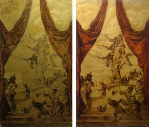 L'image était assez lacunaire. S'agissant d'une étude préalable, nous avons pu reconstituer les motifs perdus et renforcer les contrastes des motifs effacés à l'aide de l'oeuvre originale.